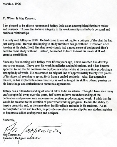 letter from art carpenter