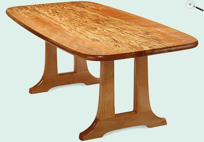 Spalted Curly Maple Trestle Dining Table